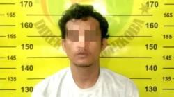 Tersangka warga Guntung kini diamankan Polres Bontang setelag tertangkap simpan sabu 30 gram. (humas/klikkaltim.com)