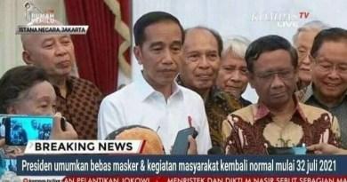 Presiden Jokowi Umumkan Bebas Masker, Cek Faktanya