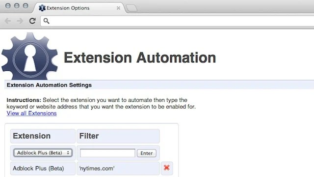 Extension Automation Enables Extensions Based on Specific Web Sites