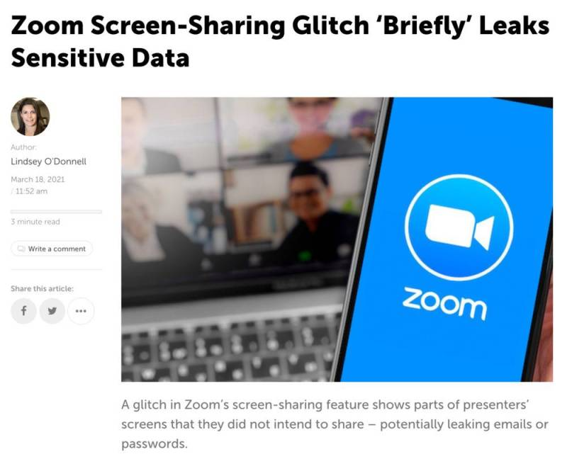 Article de presse sur les failles de Zoom