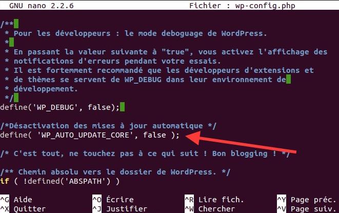 wpconfigupdatefalse Sécuriser WordPress   Les mises à jour