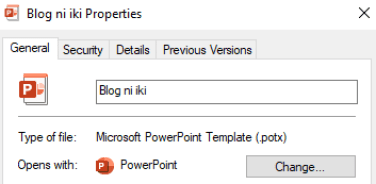 PowerPoint templates extension is saved as .potx