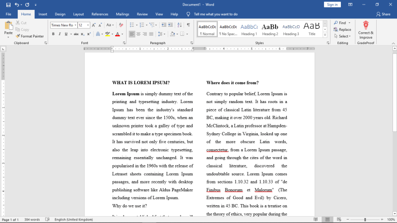 Columns in Microsoft Word