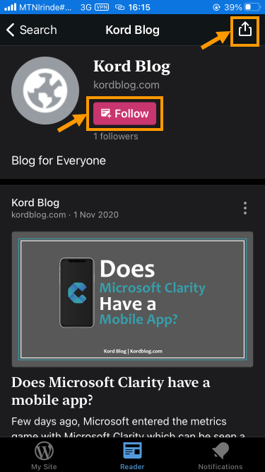 Follow a blog you searched