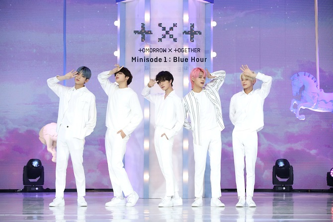 This photo, provided by Big Hit Music, shows K-pop boy group Tomorrow X Together.
