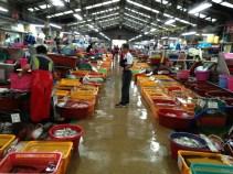 A seaside fish market.