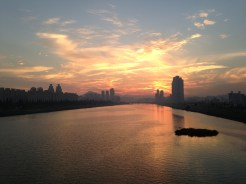 Beautiful sunset viewed from one of Ulsan's many bridges.