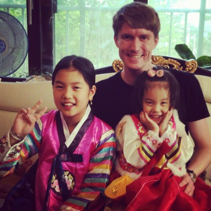Hazel and Casey in traditional Korean dress for Chuseok.