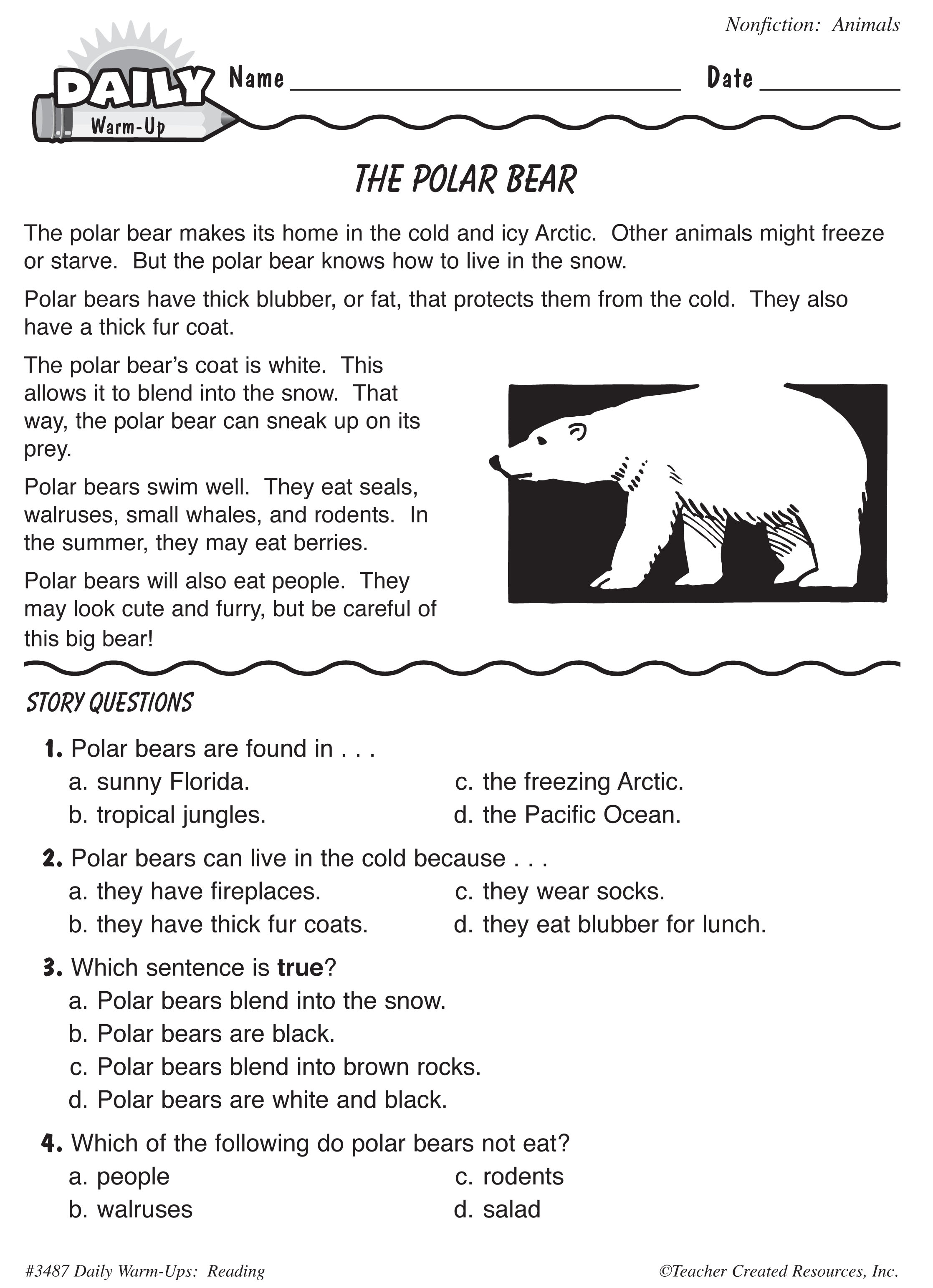 Animal Comprehension Worksheets
