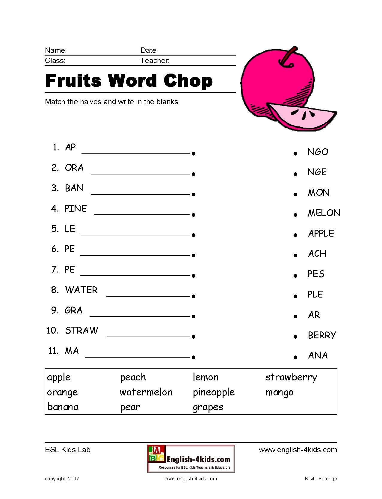 Fruit Word Chop