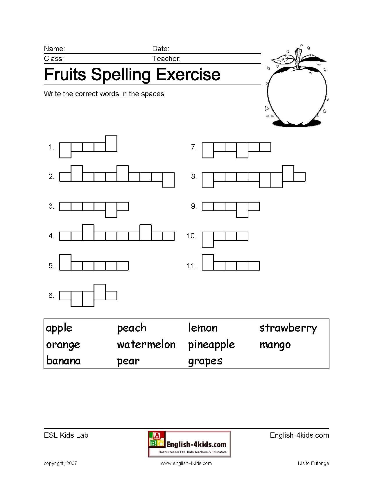 Fruit Worksheets Spelling