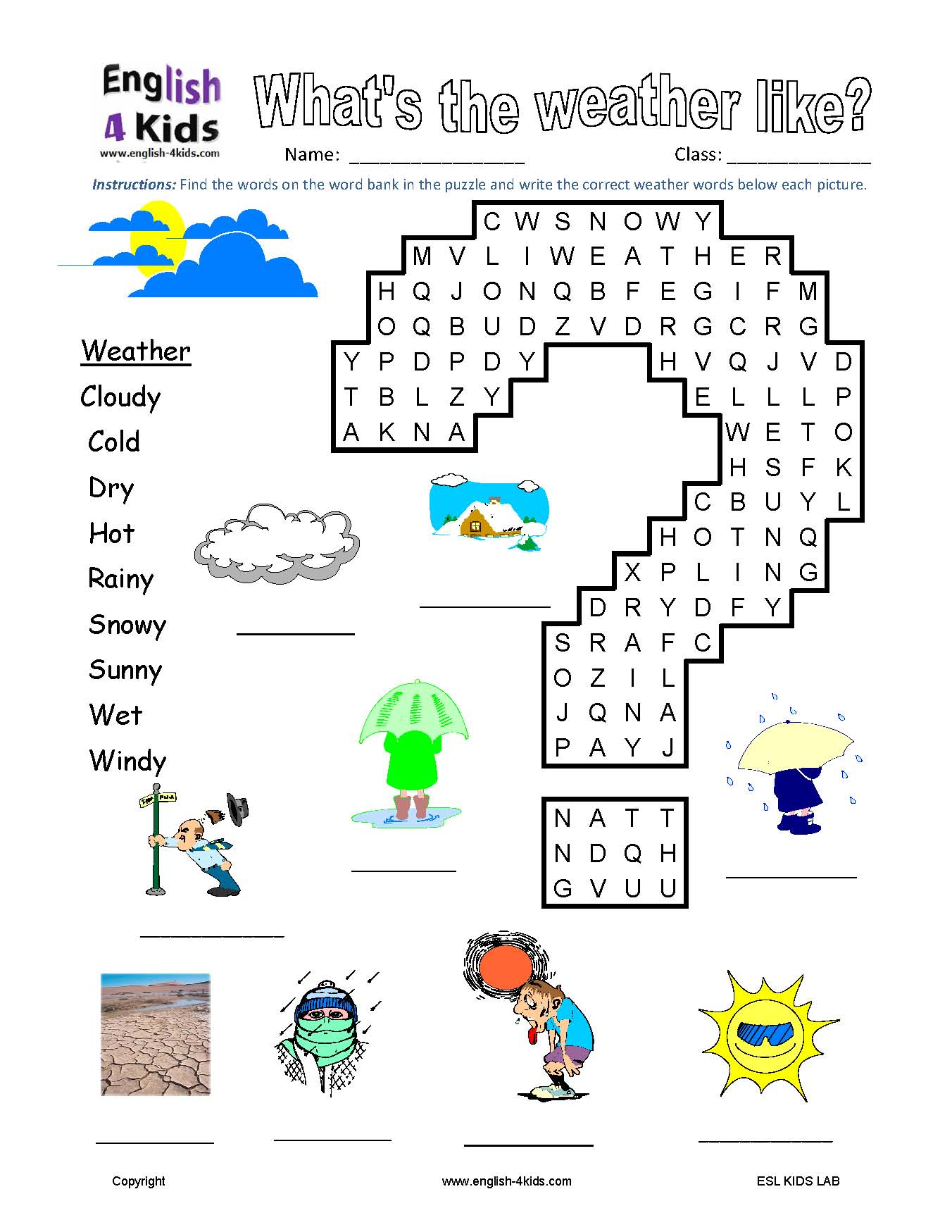 Weather Wordsearch