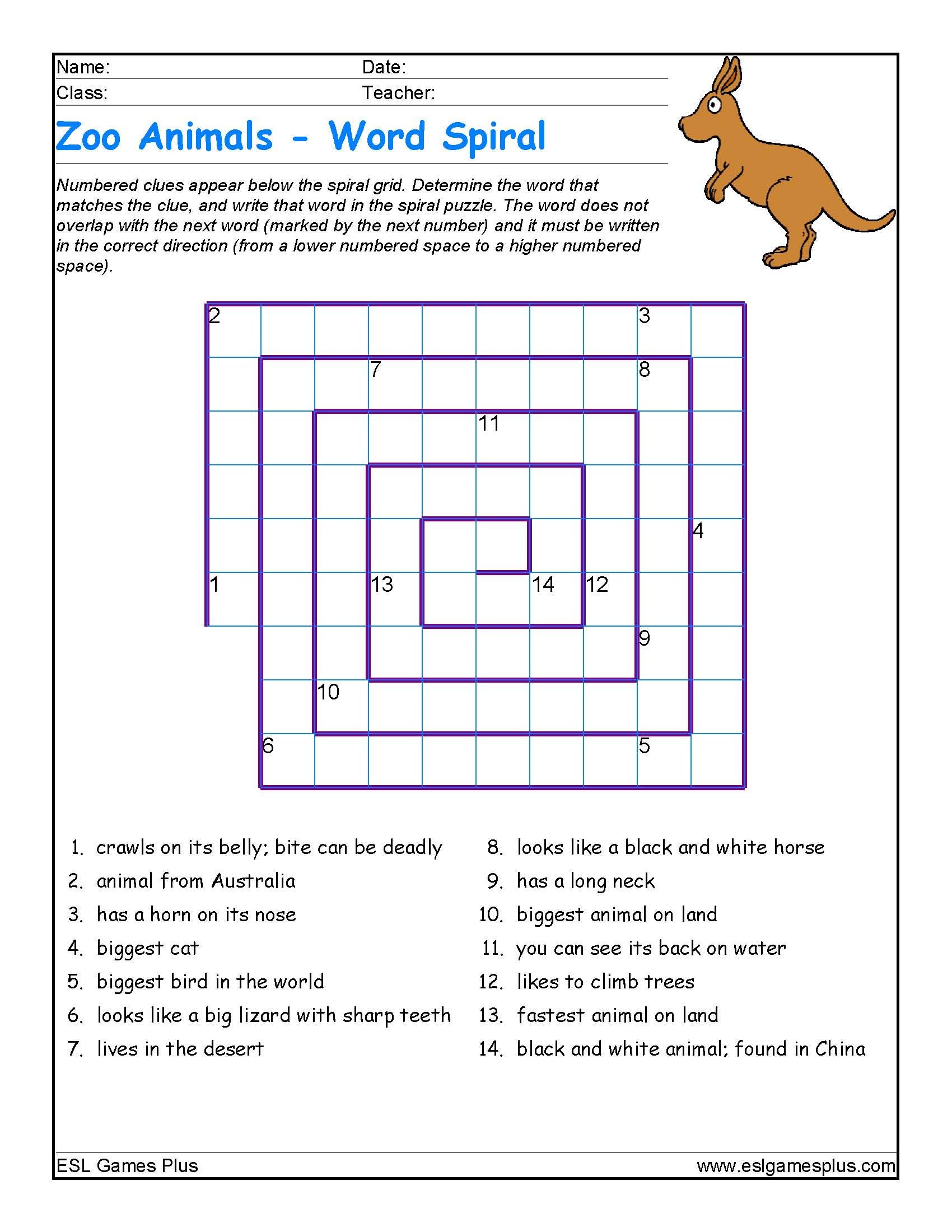 Zoo Animals Word Spiral