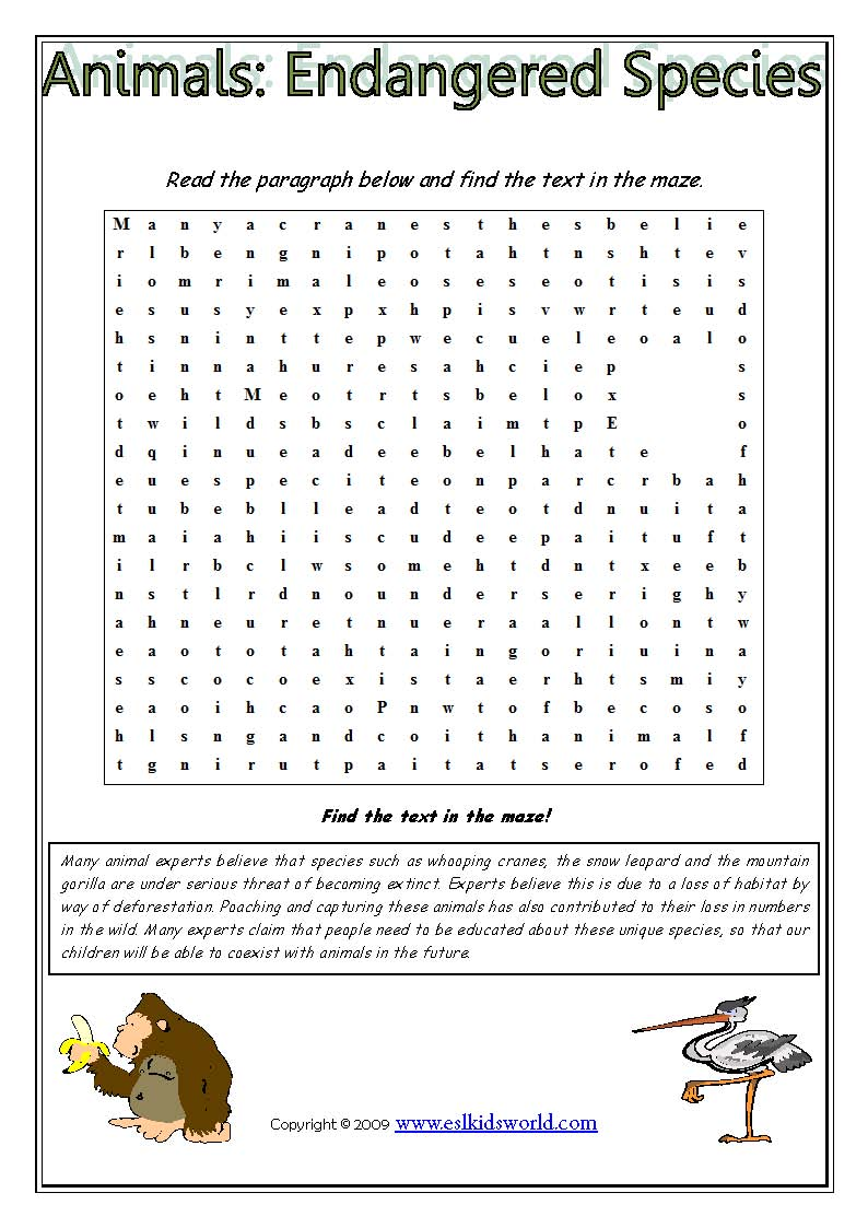 Worksheets Endangered Species Worksheets animals endangered species text maze lela worksheet
