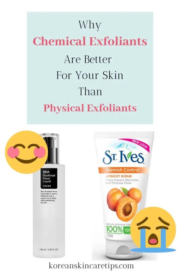 chemical exfoliants vs physical exfoliants for acne prone skin aha bha for acne