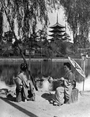 THE NARA PAGODA In lotus-land Japan, 1910 by H.G.Ponting