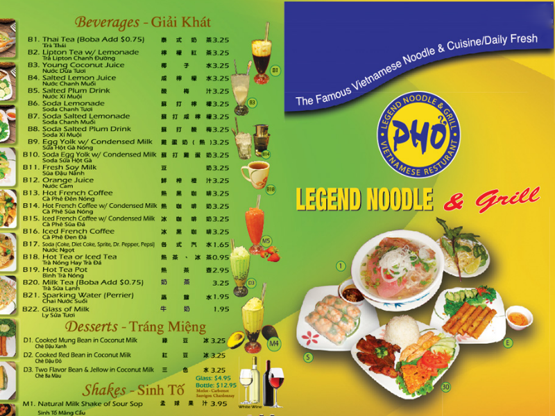 Pho Legend Menu