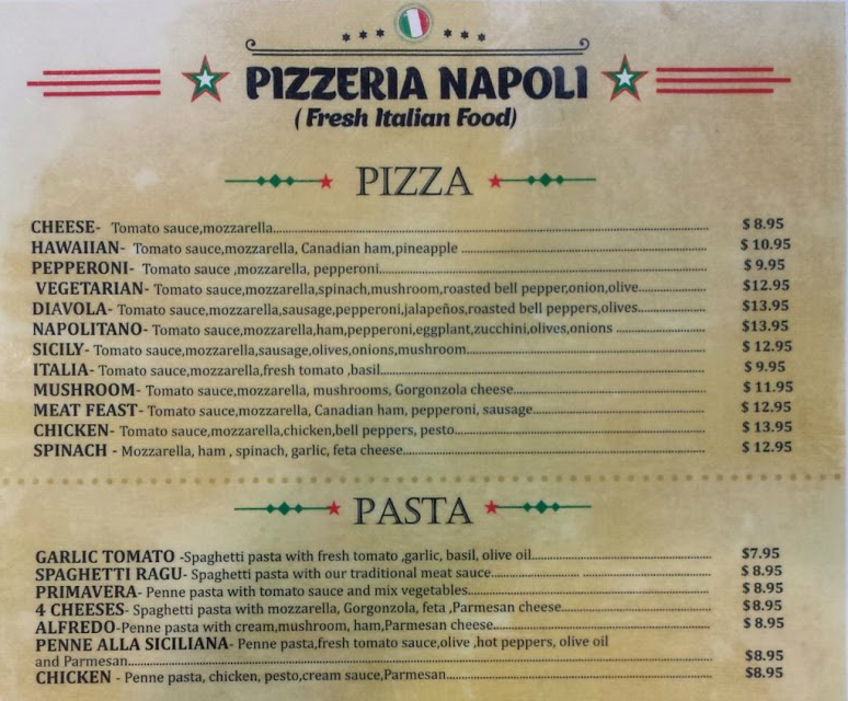 Pizzeria Napoli Menu