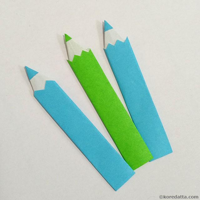 簡単 折り紙で色鉛筆の折り方 しおりにも!