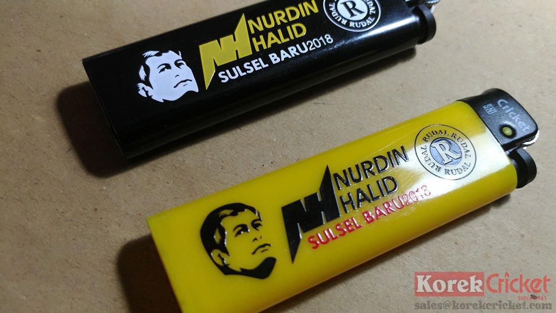 Korek Cricket warna hitam dan kuning sablon logo Nurdin Halid Sulawesi Selatan-size1100