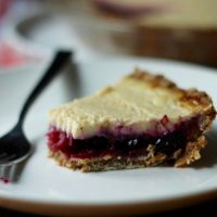 Blue-Barb Custard Pie with Oatmeal Cookie Crust