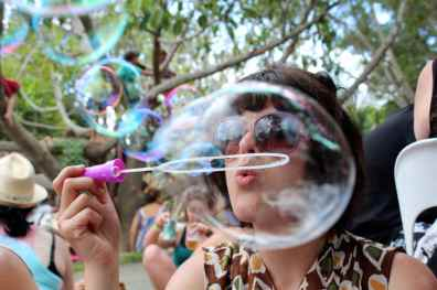 Blowing bubbles at Woodford Folk Festival, Queensland, Australia.