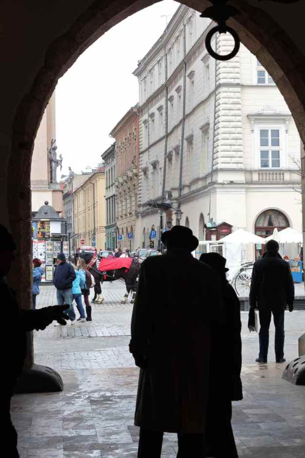 In the archway of the cloth markets, Krakow, Poland.