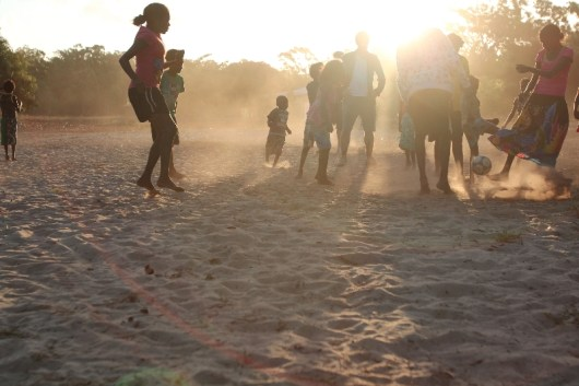 Soccer at dusk with the children of Arnhem Land, 2012.