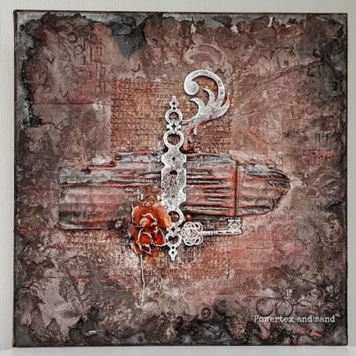 Powertex mixed media art with sand and mdf on canvas by Kore Sage