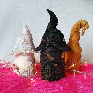 Powertex fairy houses Ivory by Kore Sage
