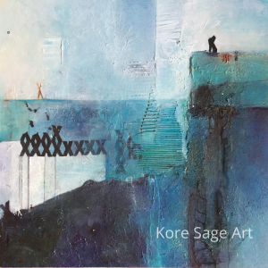 View from the top by Kore Sage, Mixed media Powertex original art