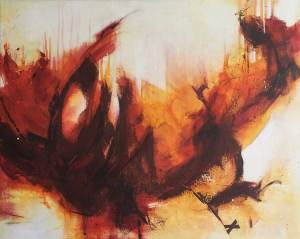 Red and orange abstract seascape by Kore Sage launched September 2020