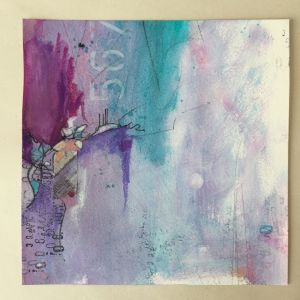 Abstract blue and magenta art on square watercolour paper