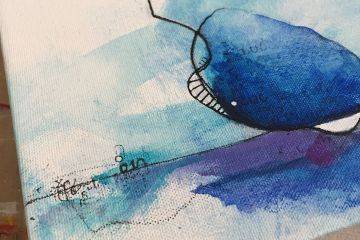 Mixed media art in blue and purple with hand drawn lines by Kore Sage