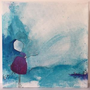 Curious Tales mixed media artwork painting in blues and magenta by Kore Sage