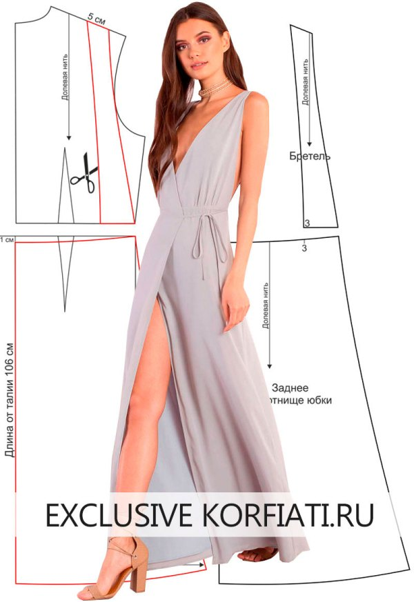 Выкройка платья с Vобразным вырезом от Анастасии Корфиати