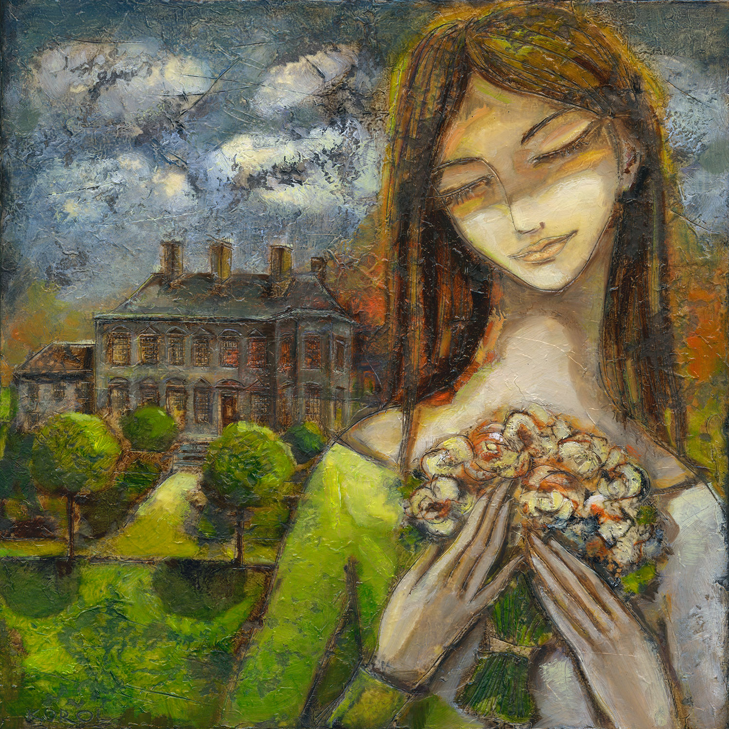 Print from original painting. A portrait of a girl holding bouquet of flowers on her wedding day. Large georgian house in the distance.