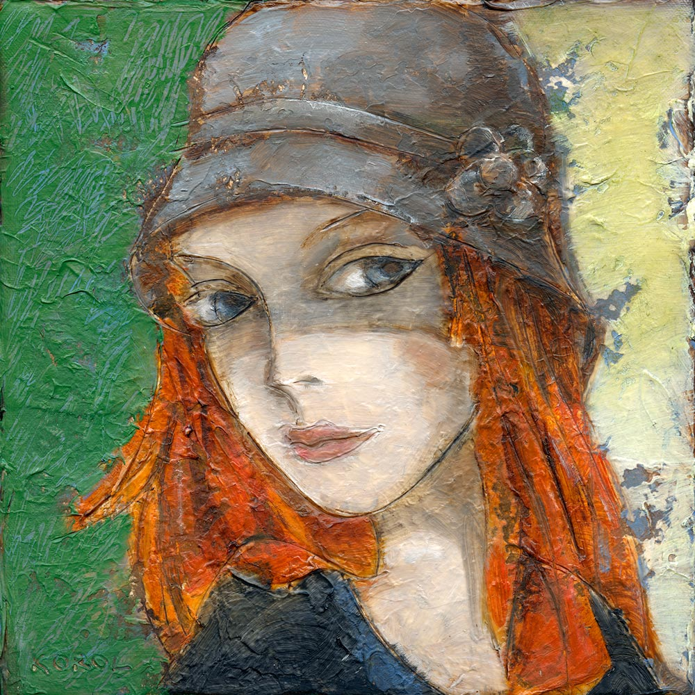 painting and print of Cailin Rua. Irish girl in agrey hat and red hair