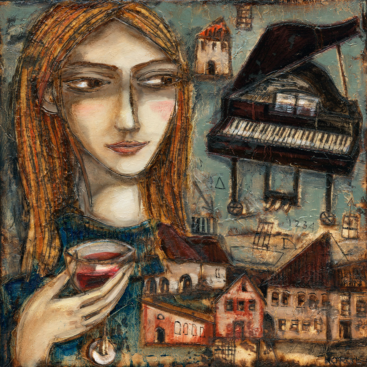 painting of a girl with glass of red wine or cocktail with an image of a grand piano and some buildings in the background.