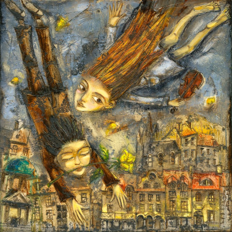 Boy and a girl fly through the air over the city of Prague with yellow roses and a violin.