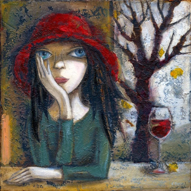 Painting of girl in red hat with glass of red wine. Leaves falling off the tree.