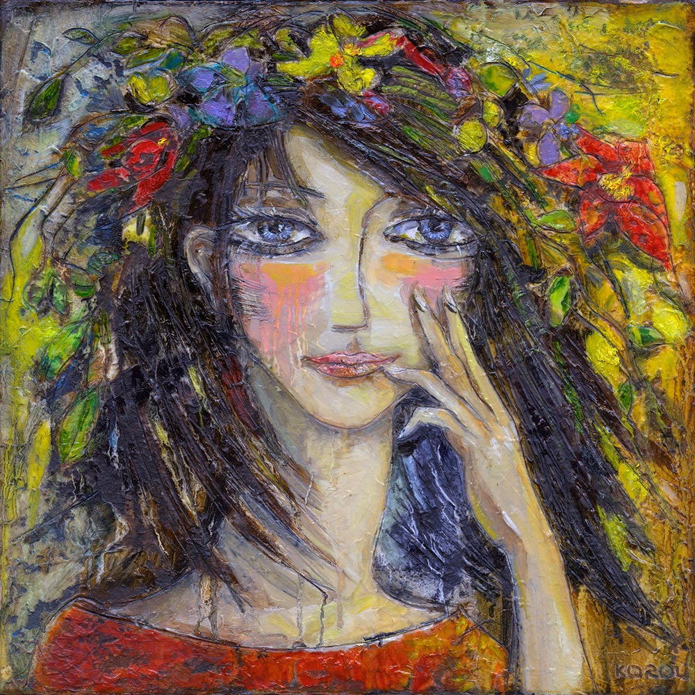 Painting of girl with flower garland by Irish Artist Korol