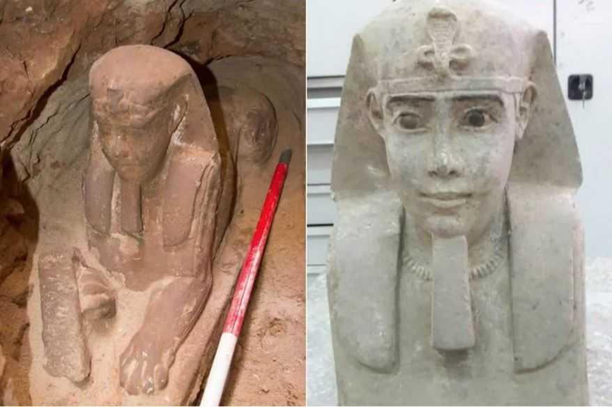 Археологическая сенсация: В Египте нашли нову статую сфинкса.