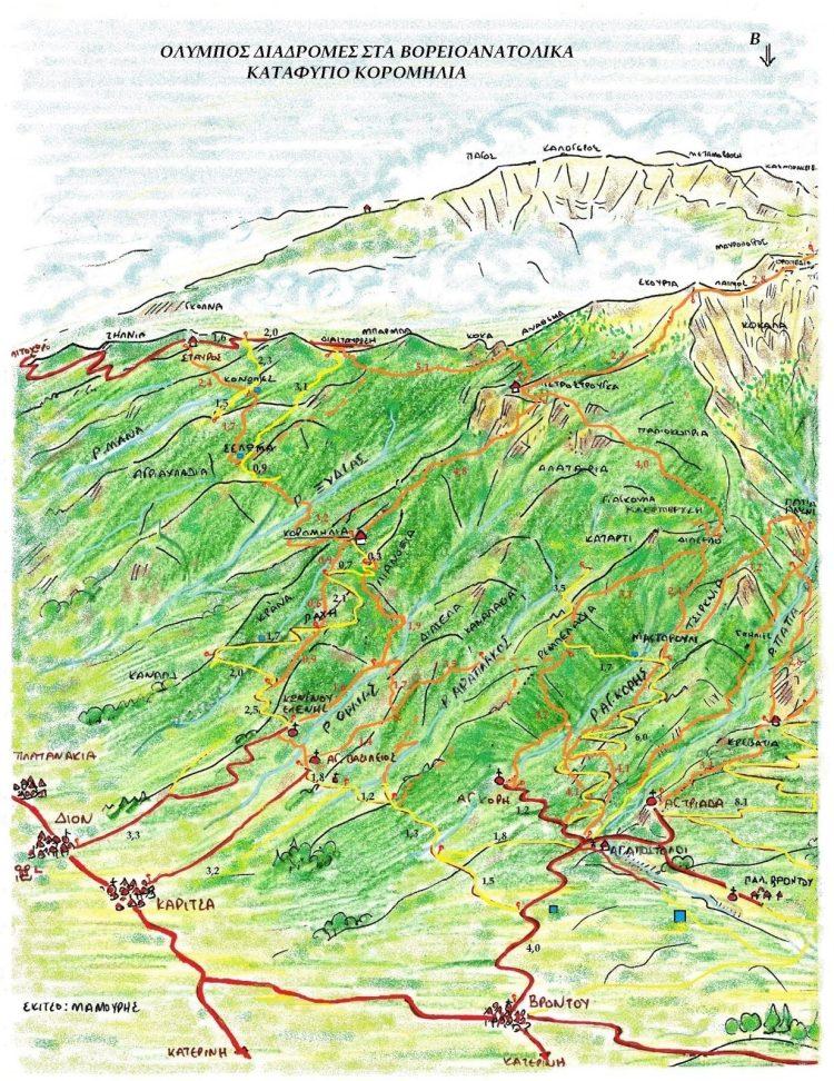 Καταφύγιο Κορομηλιά - Χάρτης πρόσβασης στο Καταφύγιο.