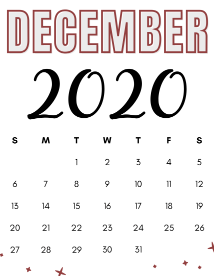 simple free printable calendar for december