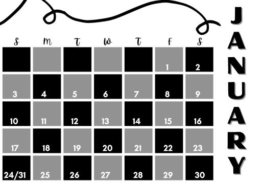 January 2021 calendar modern