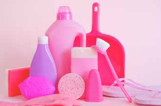collection of plastic bottles for cleaning products