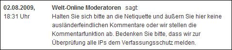 Hoax: Welt-online meldet IP-Adressen von Kommentatoren an Verfassungsschutz