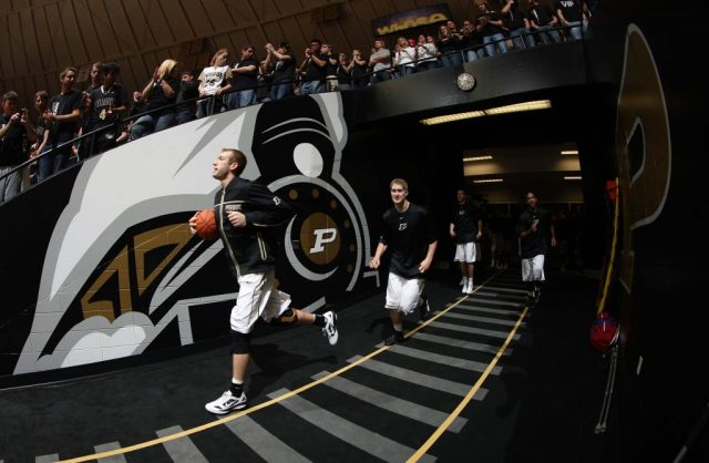 Nov 14, 2011; West Lafayette, IN, USA; Purdue Boilermakers forward Robbie Hummel (4) leads the team onto the floor before the game against the High Point Panthers at Mackey Arena. Mandatory Credit: Brian Spurlock-US PRESSWIRE