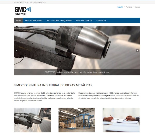 web de simeyco recubrimientos metálicos en gipuzkoa